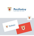 skull flag logotype with business card template vector image