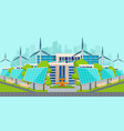 solar panels with wind turbines in city vector image vector image