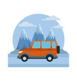 suv sport vehicle between mountains landscape vector image vector image