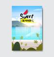sweet summer landscape palm tree beach badge vector image vector image