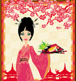 Traditional japanese pretty girl serves sushi vector image vector image