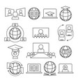 webinar online learning icon set vector image vector image
