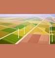 wind turbine energy renewable station field vector image vector image