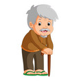 cartoon of old man with a walking stick vector image