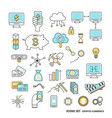 cryptocurrency icon set modern thin line vector image