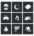 Set of Sleep and Rest Icons Man Night vector image