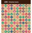 100 cinema icons vector image vector image