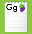 alphabet tracing worksheet with letter g and g vector image vector image