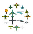 aviation icons set flat style vector image vector image