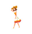 beautiful elegant woman walking active healthy vector image vector image