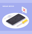 broken smartphone repair background vector image vector image