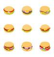 burger icons set cartoon style vector image vector image