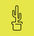 cactus plant in a pot icon line art vector image vector image