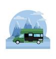 caravan car vehicle between mountains landscape vector image vector image