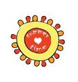 cartoon red and yellow sun vector image vector image