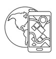 cellphone with globe in black and white vector image vector image