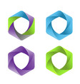 colorful hexagon shield logo vector image vector image