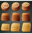 cookies chocolate and waffles vector image vector image
