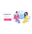 couple man woman coworkers sitting at cafe table vector image vector image
