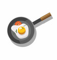 fried egg and tomato in frying pan vector image