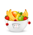 Fruit with in a weight scale Diet concept vector image vector image