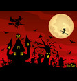 halloween and moonlit night at a cemetery vector image