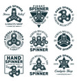 hand spinner shop set emblems with text vector image vector image
