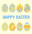happy easter card template with blue and yellow vector image vector image