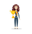 happy woman holding winner cup vector image