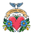 heart with flowers ribbon and dove eternal love vector image vector image