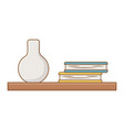 isolated shelf with books design vector image vector image