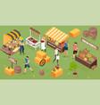 isometric farm market composition vector image vector image