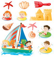 kids on boat and beach objects vector image vector image