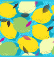 lemon citrus fruits seamless pattern limes and vector image vector image
