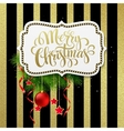 Merry christmas label with gold lettering vector image