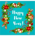 New Year poster with holly and pine corner vector image vector image