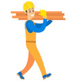 person smiling and carrying wooden blocks vector image
