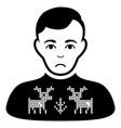 sad deers pullover boy black icon vector image