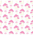 seamless pattern with pink and polka dot amanita vector image vector image