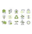 set ecology icons on white background vector image vector image