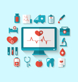 Set flat icons of objects and equipments medicine vector image vector image