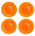 Set of four empty plates with a different design vector image