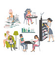 set of people reading books in library vector image vector image