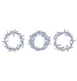 set of silhouette christmas wreath frames vector image