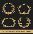 set of vintage luxury monogram frame template vector image