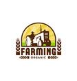 Tractor Wheat Organic Farming Crest Retro vector image vector image