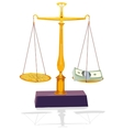 unbalanced silver scale with money vector image vector image
