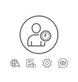 user with clock line icon profile avatar sign vector image vector image