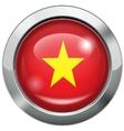 Vietnam flag metal button vector image