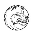 wolf emblem minimalistic vector image vector image